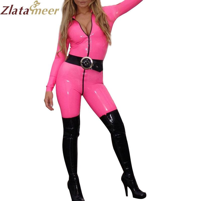 71ca8aa2f46a7 2019 Women Sexy Latex Catsuit Wet Look Pink Fetish Rubber Bodysuit Ladies  One Piece Plus Size Latex Costume LC085 From Sideceam