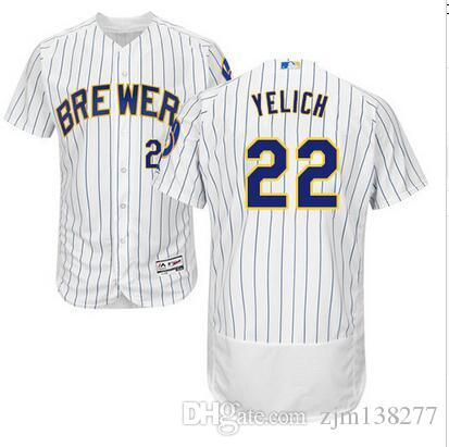 the latest 0de15 f0857 Men s Milwaukee Brewers Christian Yelich White Navy Gray Felx Base Cool  Base Player Jersey