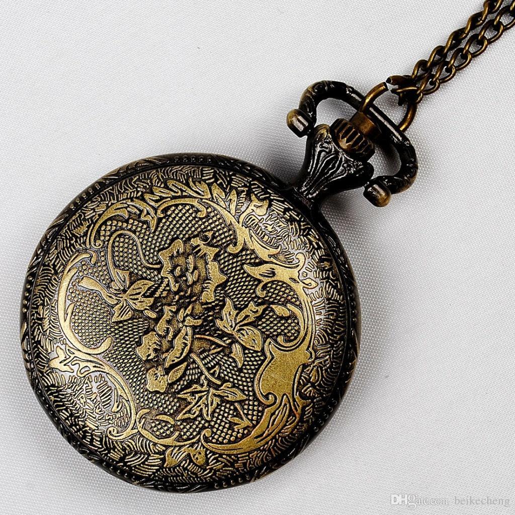 Großhandel 100 teile / los Mix 30 Designs Fall Dia 2,5 CM Anhänger Kette Quarz Bronze Kleine Crown Uhr Taschenuhr PW048