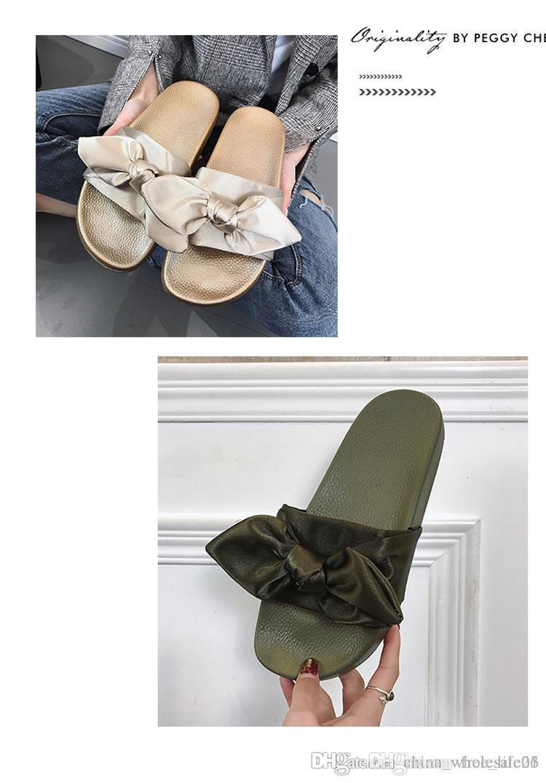 Women Slippers Silk Bow Slides Summer Beach Shoes Woman No Fur Slippers  Flat Heels Flip Flops Ladies Rihanna Bohemia Sandals UK 2019 From  Free life03 a8af92964
