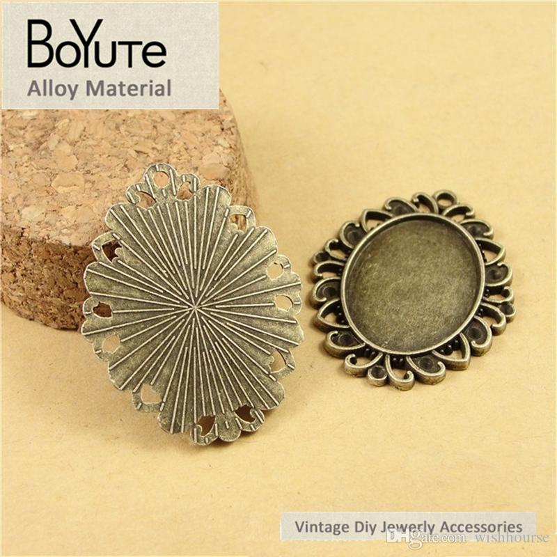 BoYuTe  25*18MM Cabochon Base Antique Bronze Plated Zinc Alloy Blank Pendant for Jewelry Findings Diy Necklace Bracelets