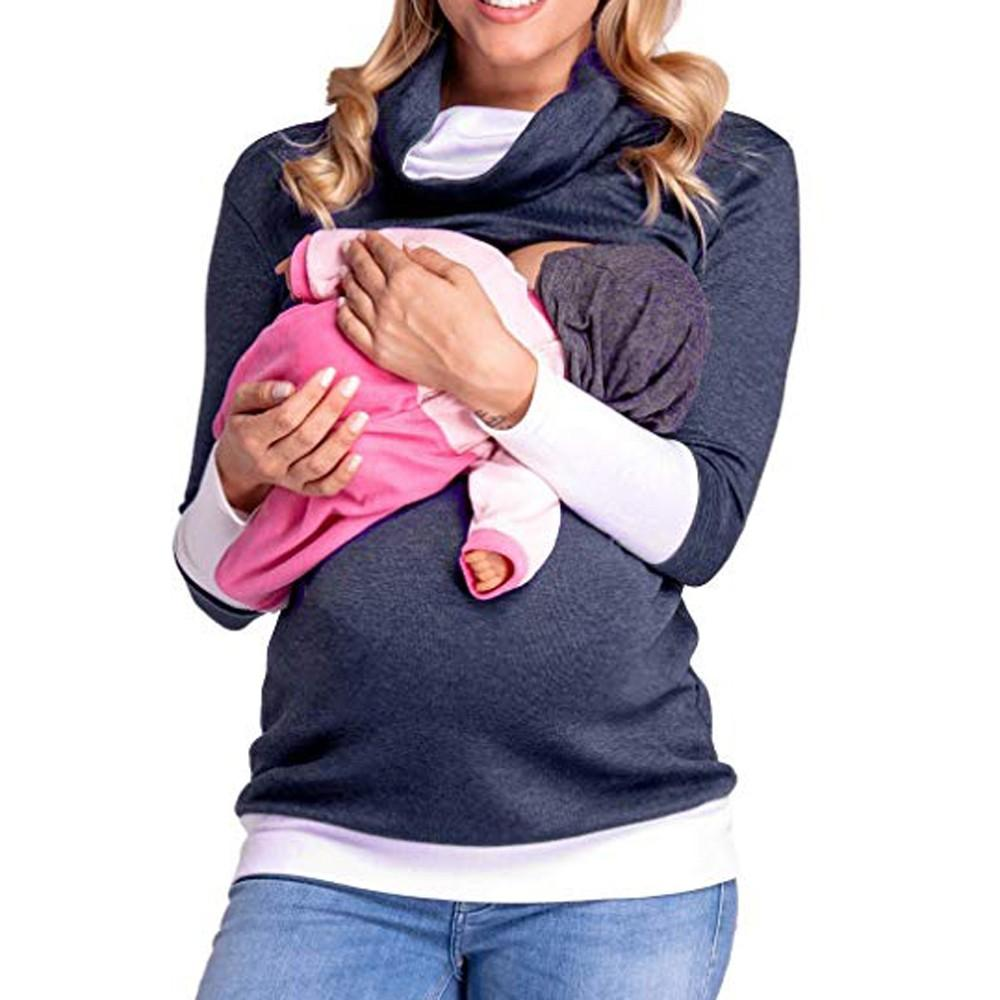 bb643959a3d55 2019 Women Colorblock Maternity Clothes Mons Nursing Wrap Tops Long Sleeve  Double Layer Cap Shirt Breastfeeding Clothing For Pregnant From Henryk, ...