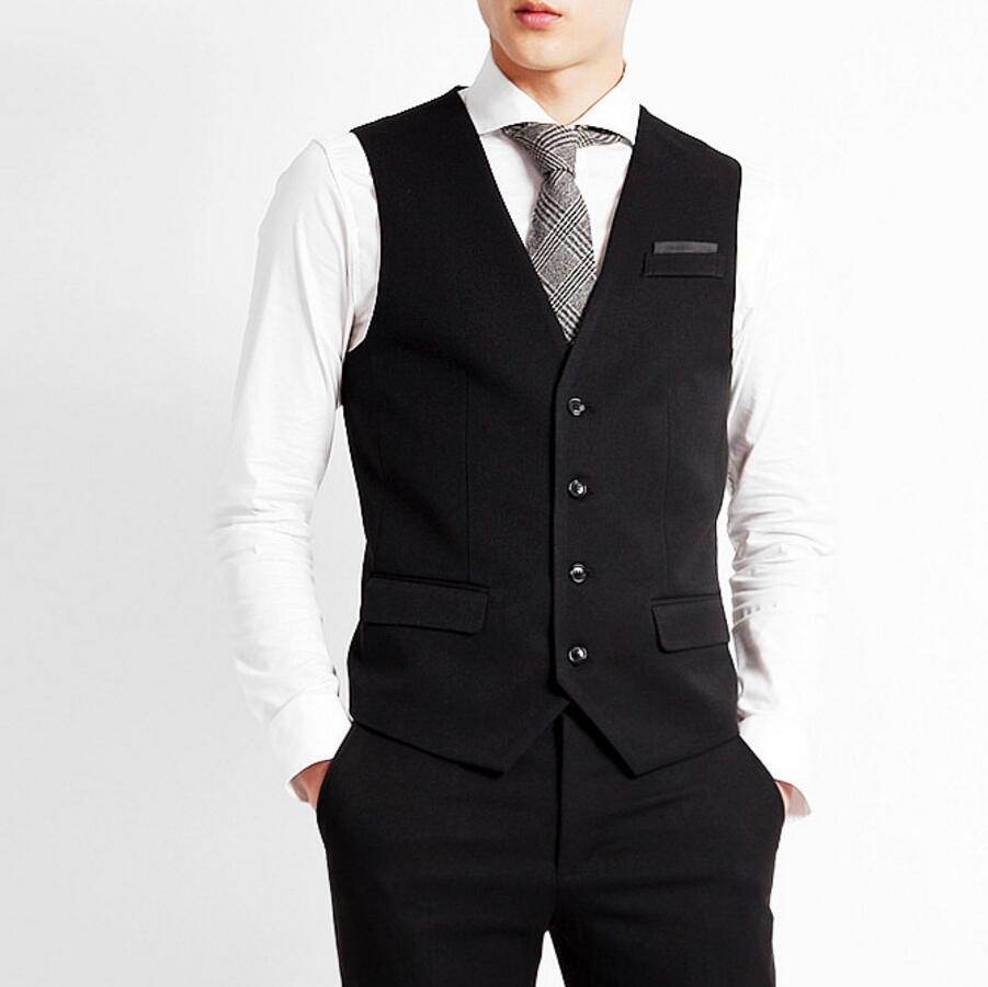 Compre Chaleco De Traje De Hombre Chaleco De Corte Slim Chaleco De Color  Negro Chaleco De Vestir De Hombre A Medida Para Hombres De Negocio Ocasión  Formal A ... a96334548bd6