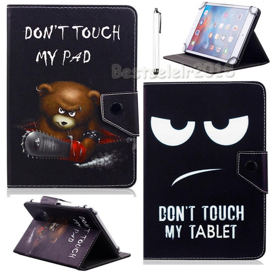"AIBOULLY Funny Don't Touch My Pad Universal Case for Visual Land Prestige Elite FamTab with WiFi 7"" Tablet Stands"