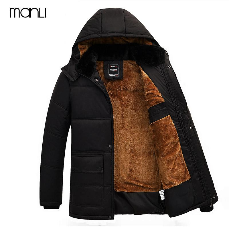 MANLI 2018 Man Parka Thicken Warm Jacket Hiking Hooded Outwear Cotton Padded Coats Winter Windbreakers Clothings Men