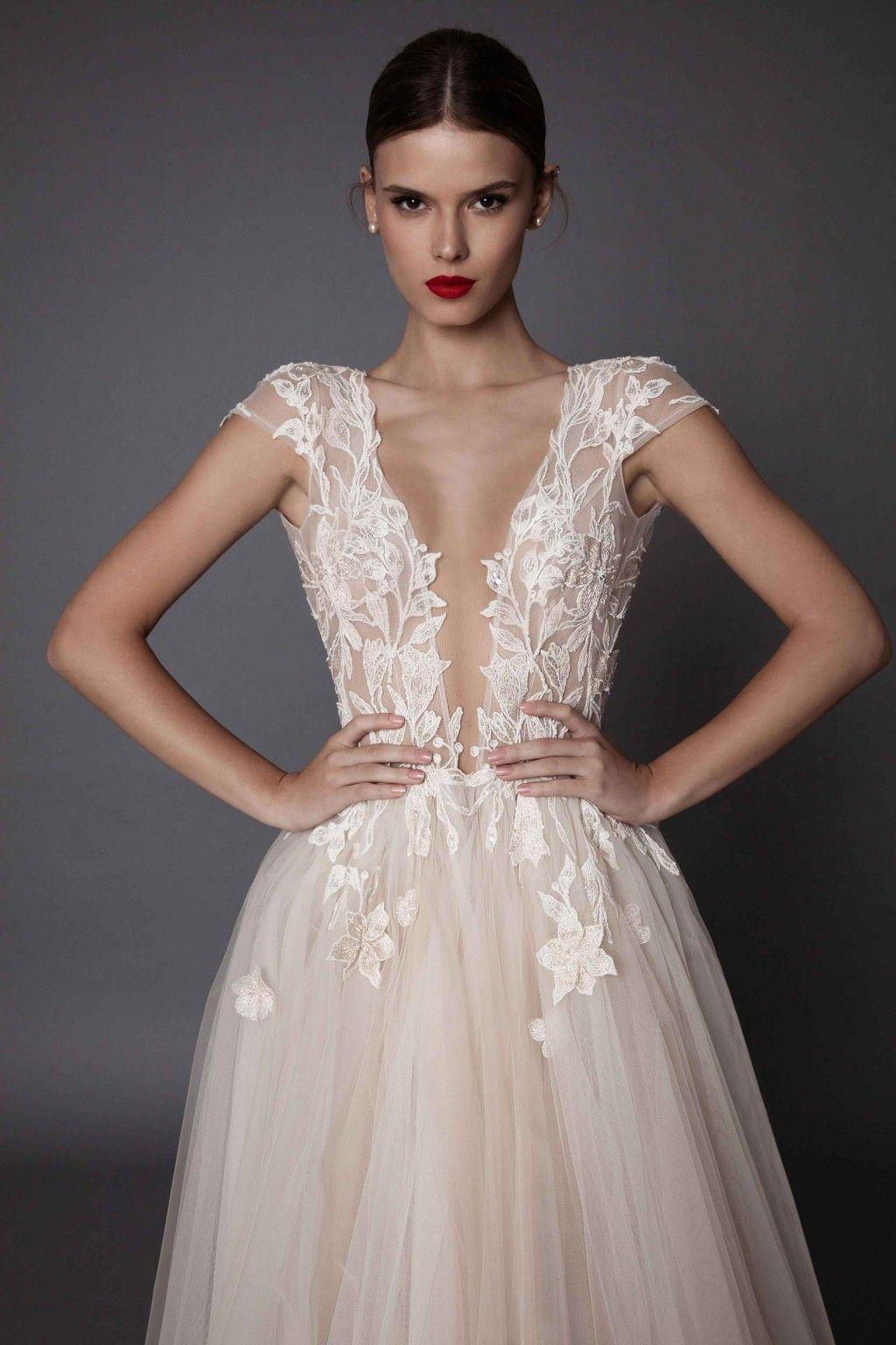 Sexy Berta 2019 Wedding Dresses Backless High Side Split Boho Wedding Gowns Bohemian Tulle A Line Bridal Dress