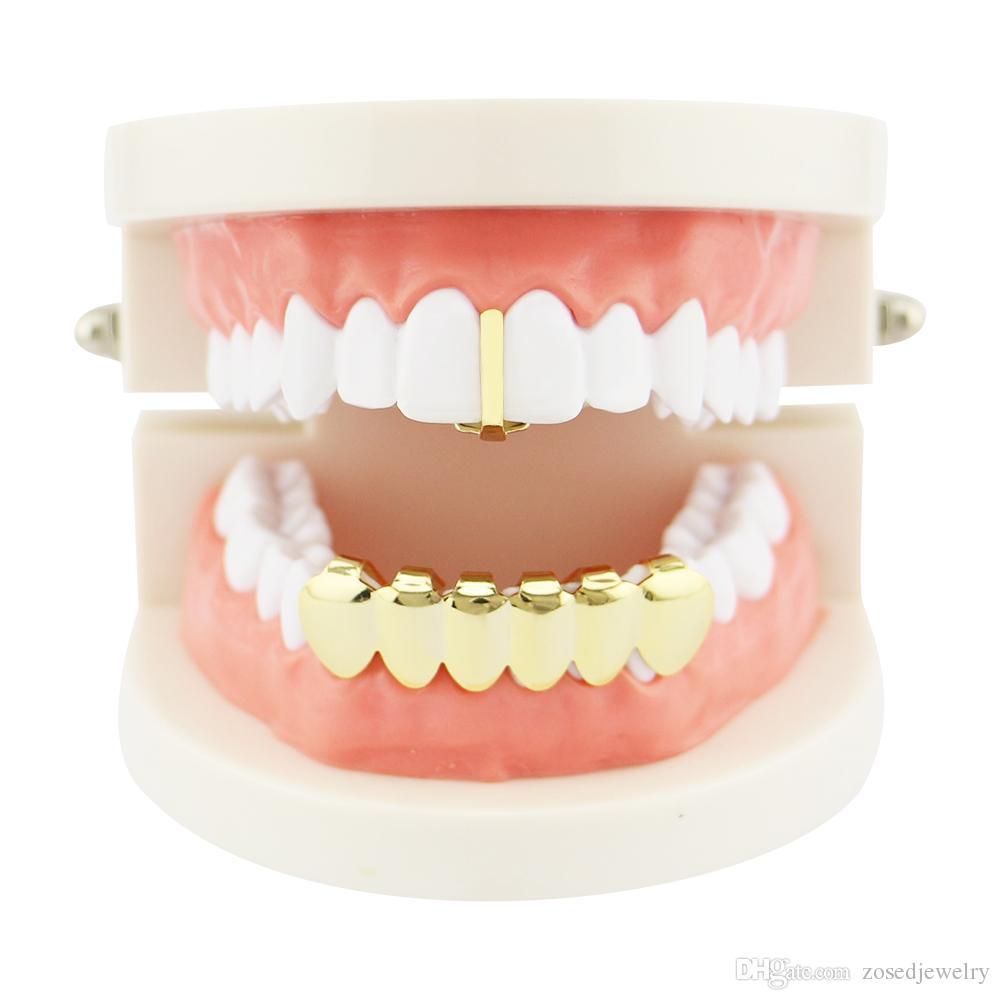 New Gold Color Plated Open Face Single Cross   Hollow Top Tooth Caps Glossy  Polish Hip Hop Teeth Grillz Bottom Grills Set UK 2019 From Zosedjewelry 04cda4bba7f4