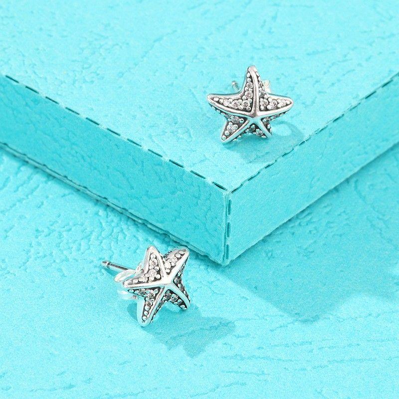 2018 Summer New Tropical Starfish Orecchini donna / ragazza 925 Sterling-Silver-Jewelry Micro Crystal Pave Sea Star Orecchino
