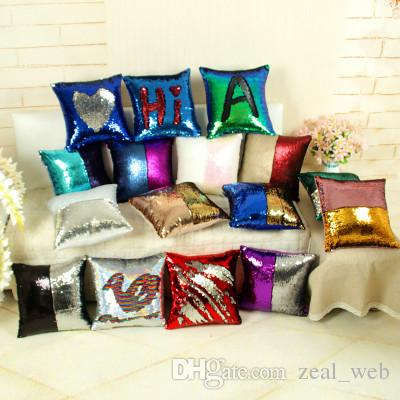 2018 hot Glitter Reversible Sequins Pillow case DIY magical Mermaid Pillow Covers 40*40 cm two color Changing Throw Pillow cushion