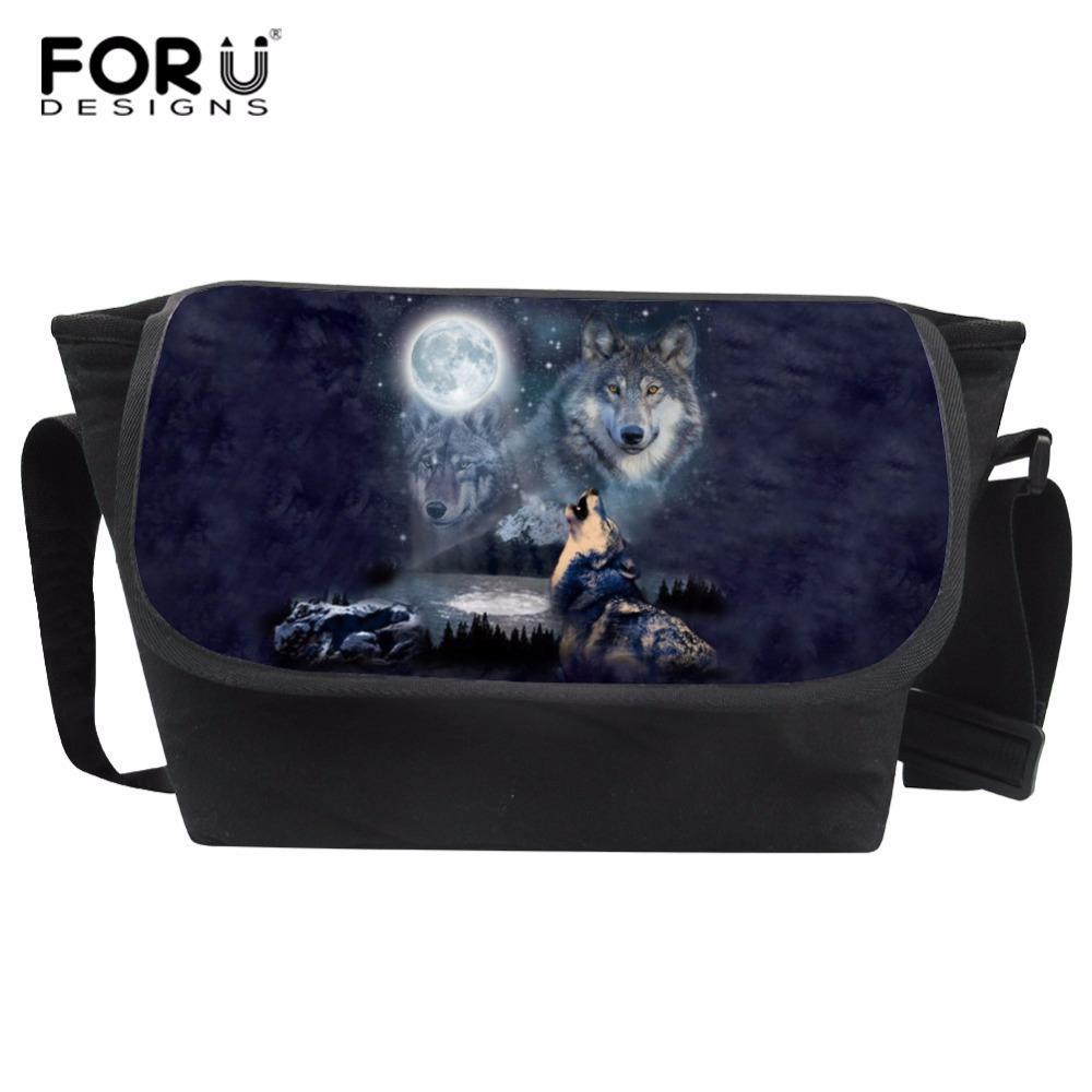 d08fed4364 FORUDESIGNS Cool Wolf Printing Men Messenger Bag Teenager Travel Bag ...