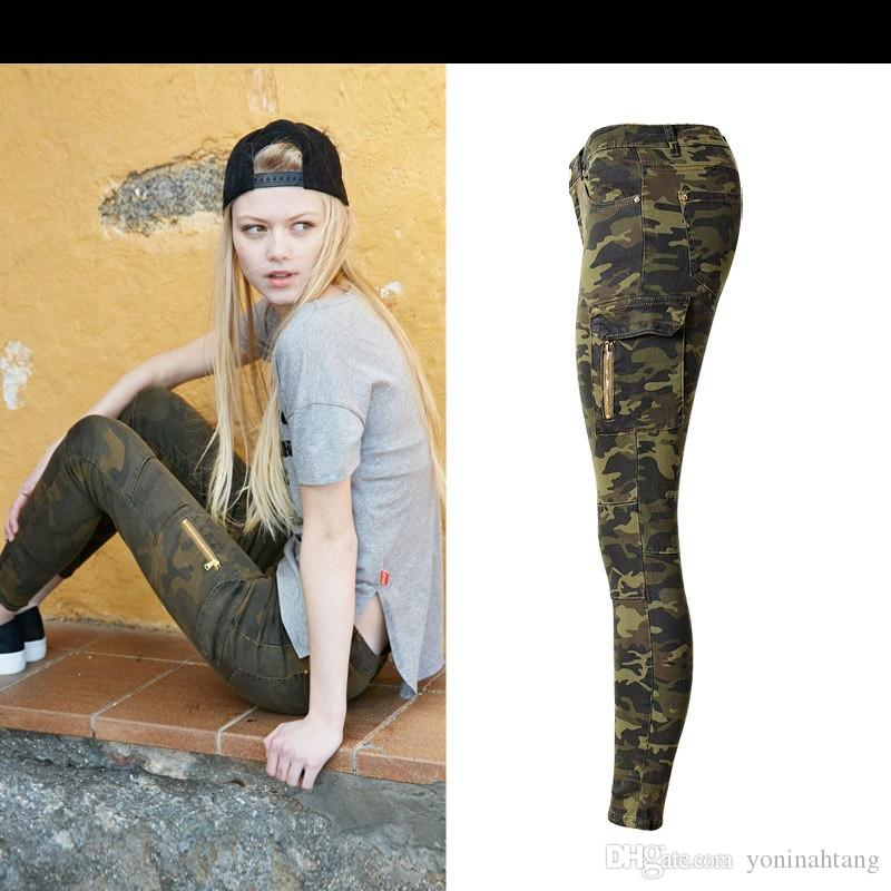 Wholesale Women's Fashion Mid Waist Skinny Stretchy Pant Side Pocket zip Pilot Style Casual Camouflage jeans