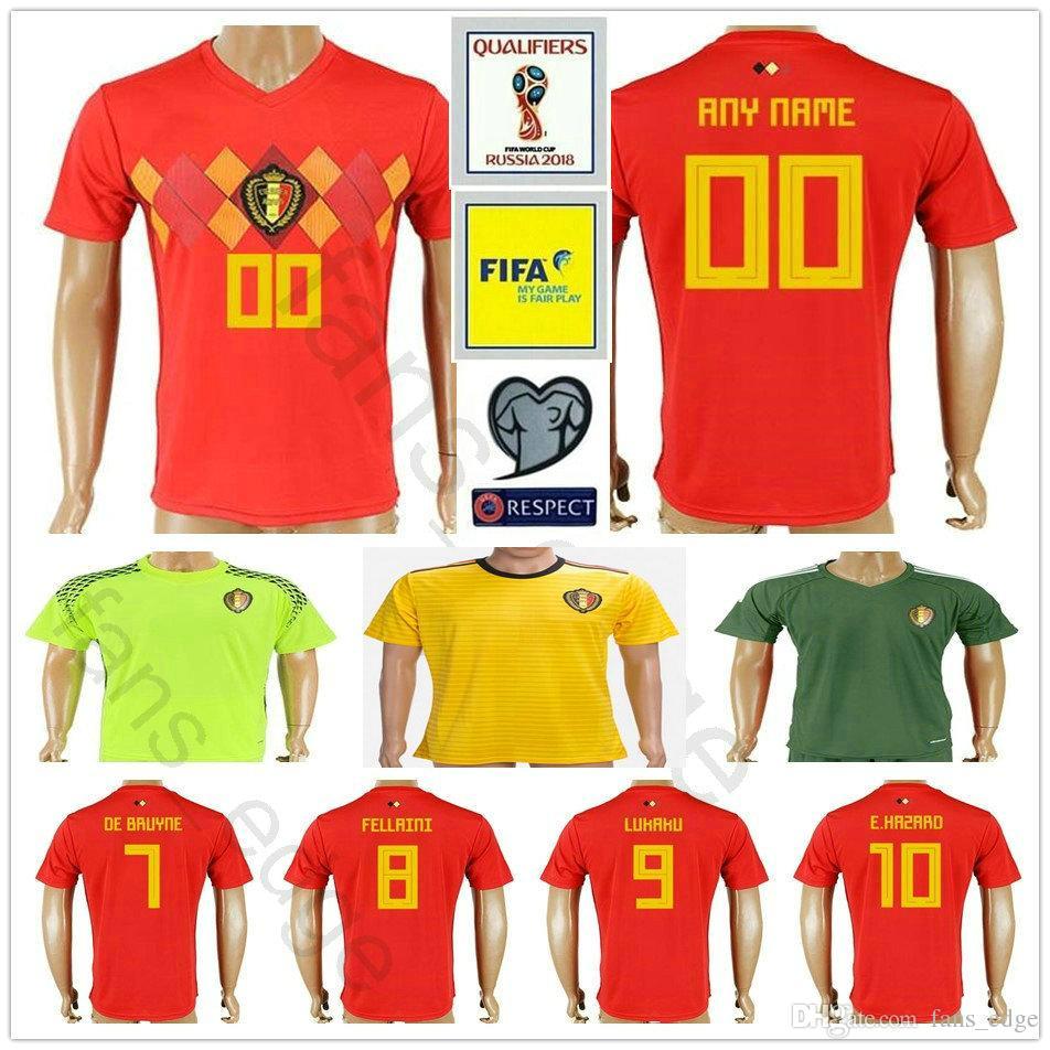 2019 2018 World Cup Belgium Short Sleeve Soccer Jerseys Home Red LUKAKU  FELLAINI E.HAZARD KOMPANY DE BRUYNE Belgian Soccer Shirt Football Uniform  From ... 9020a88ba