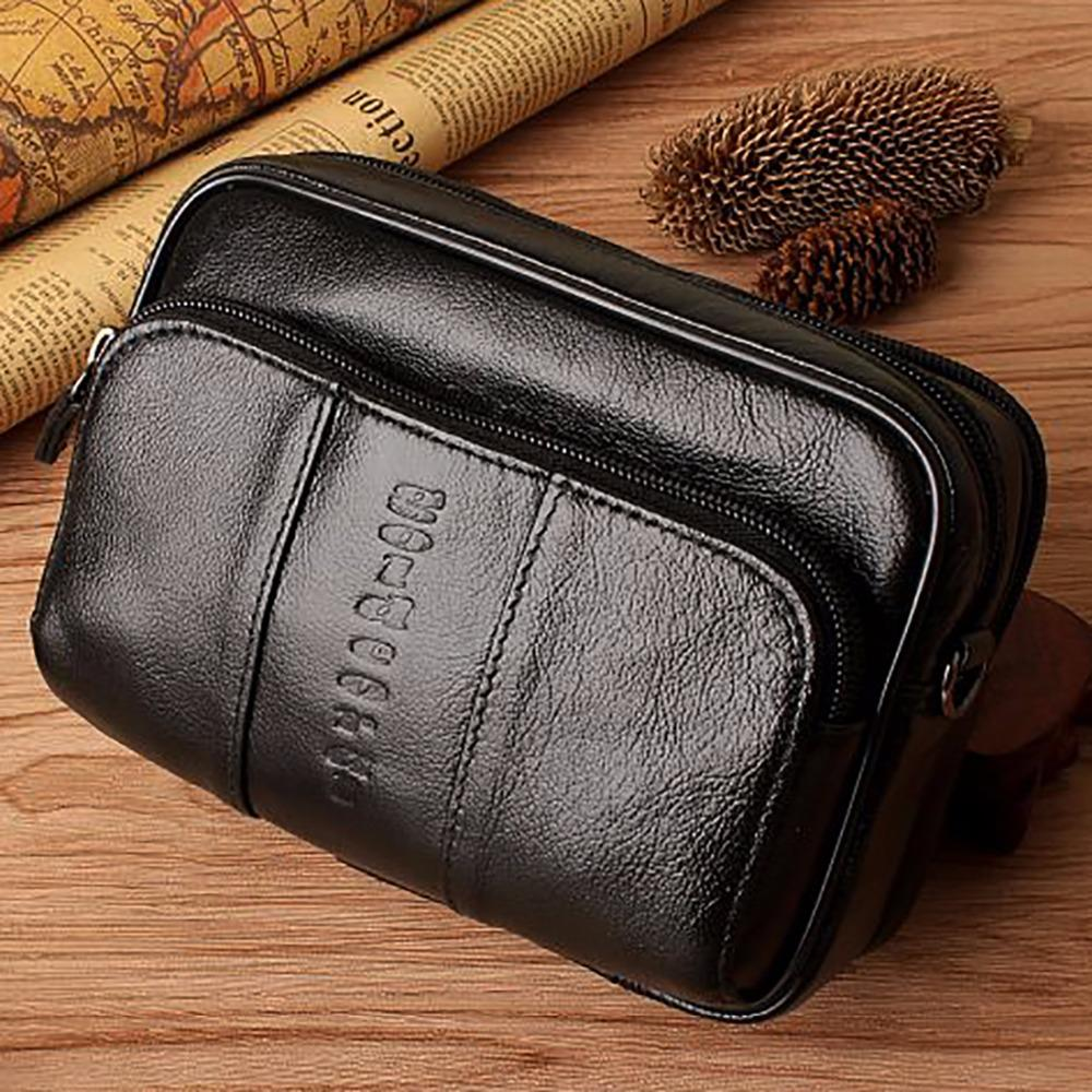 a51723f3ba67 Fashion Men Real Genuine Leather Waist Bag Cell/Mobile Phone Case Purse  Skin Belt Fanny Pack Brand Small Messenger Shoulder Bags