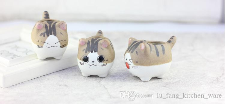 succulents pots Decorative Simple cute cat animal Hand Painted flower pots ceramics planters succulent plant potted on the desk Cartoon pots