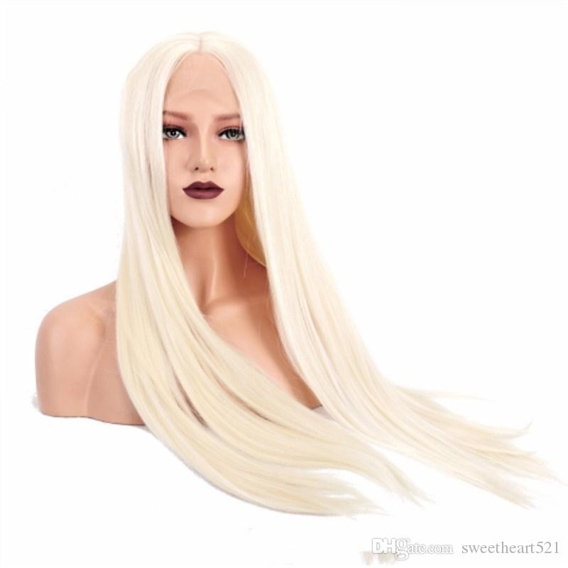 Natural Hairline Platinum Blonde Silky Straight Lace Front Wigs Long  Synthetic Hair Middle Part Heat Resistant Costume Women S Cosplay Wig Black Wigs  Online ... c16fb2e2a5
