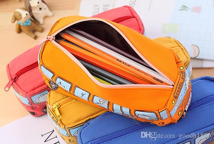 Fashion bus shape pencil bags,good canvas maerials office and school students pen case bag,four colours one size