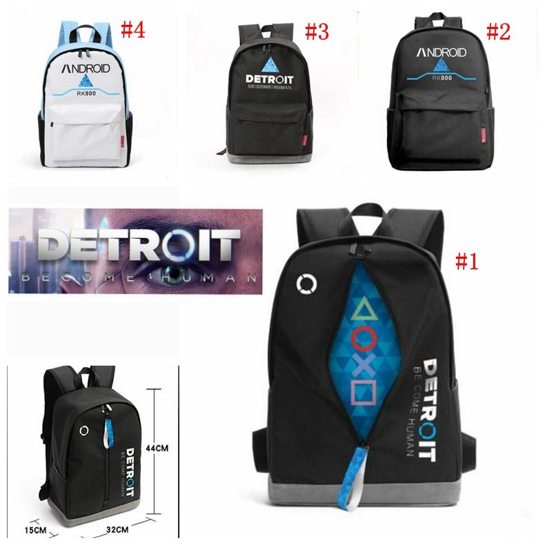 ccf3a74e4529 2018 Anime Game Detroit:Become Human Design Backpack Bag School Backpacks  Laptop Shoulder Bags Cosplay Mochila 20-35L MMA875