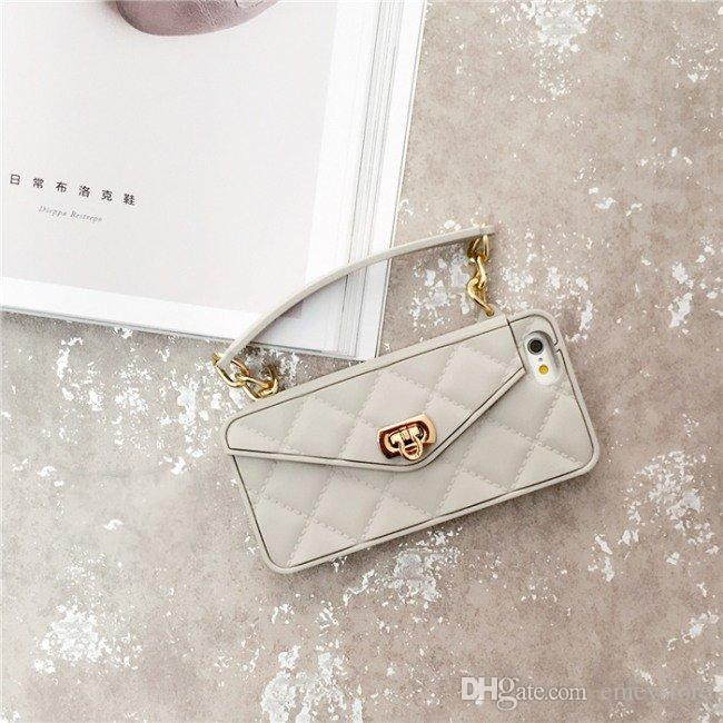 New Luxury Fashion Soft Silicone Card Bag Metal Clasp Women Handbag Purse Phone Cover With Chain For Iphone 11 pro xs max xr x 8 7 6 6S Plus