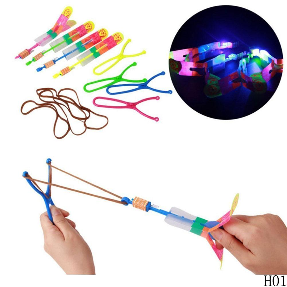 300PCS Free DHL Christmas Gift Flash Copter with Slingshot Arrow Flare Glow Amazing Helicopter Flying Arrow Disk