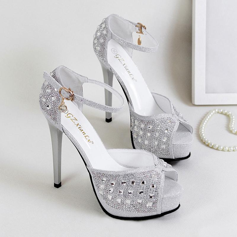 186b97e39841 Summer Super High Heel Sandals Rhinestone Silver Fish Mouth Shoes High  Heels Sexy Transparent Wedding Shoes. Birkenstock Shoes Brown Dress Shoes  From ...