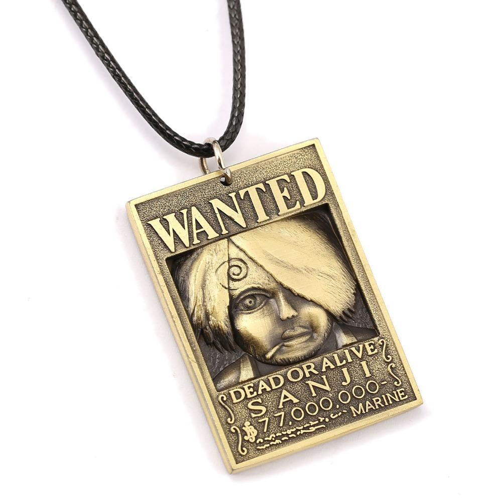 Wholesale one piece wanted poster necklace sanji warrant pendant necklace friendship men women anime jewelry choker accessories ys11443 costume jewellery