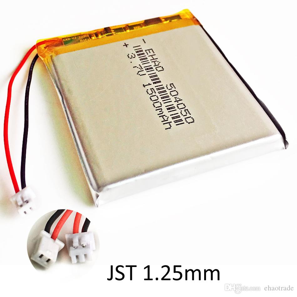 EHAO 504050 3 7V 1500mAh LiPo Rechargeable battery JST 1 25mm 2 pin  connector For DVD PAD mobile phone bluetooth camera tablet pc