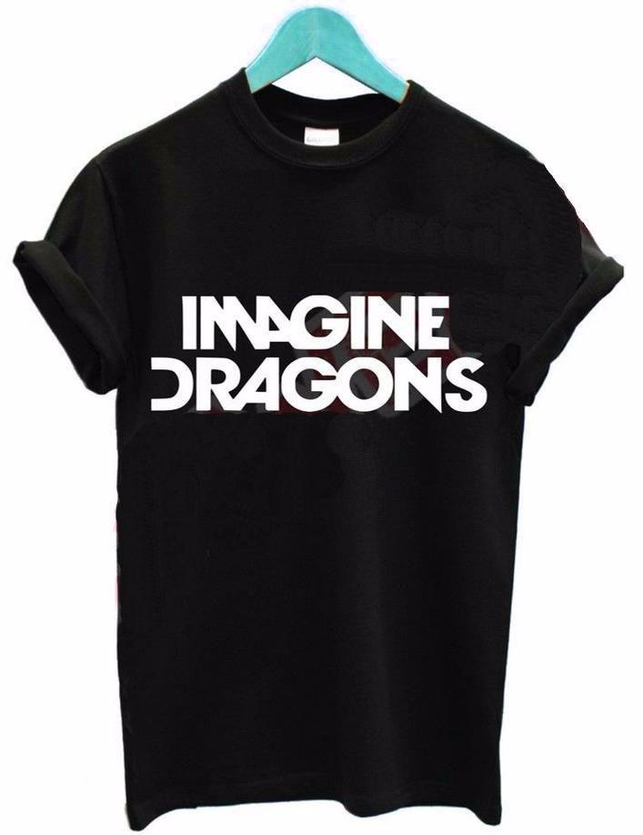 Compre 2016 Mulheres Camiseta IMAGINE DRAGÕES Carta De Impressão De Algodão  Casual Engraçado Camisa Para Senhora Preto Branco Top Tee Hipster T Shirt  De ... fd4c7ee971c59