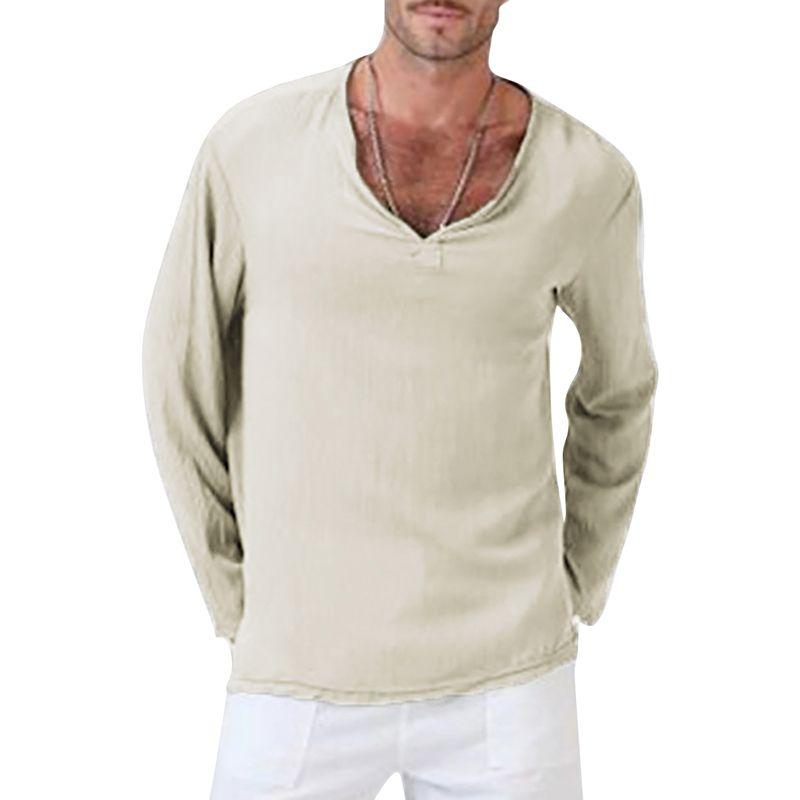 competitive price 97258 90344 Man T-shirts V-Neck Men Clothing Solid Color Linen Cotton Mens Short Sleeve  Tops Plus S-4XL