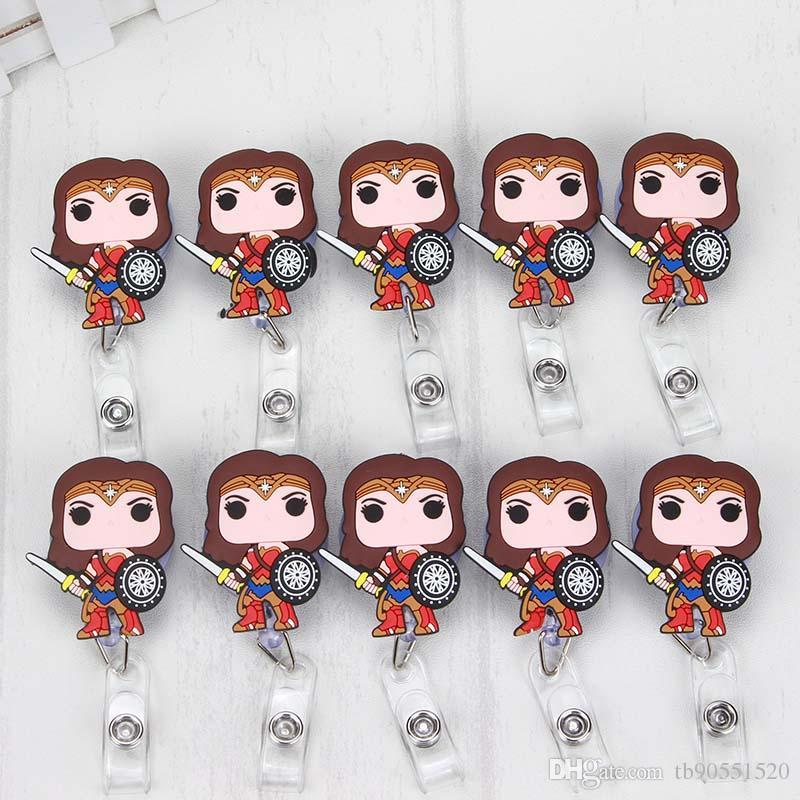 10 개 / 실리카 겔 원더 여성 귀여운 만화 개폐식 배지 릴 Exihibiton ID 이름 카드 배지 홀더 사무 용품