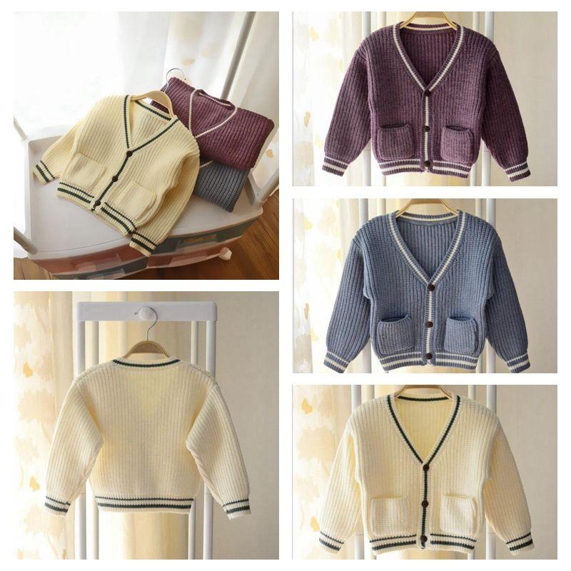 5302e5a62540 Baby Knitting Cardigan Sweater Autumn Children Girls Stripe V-neck ...