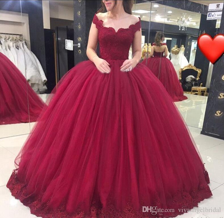 66b32bbfd Compre Vestido De 15 Anos 2019 Borgoña Sweet 16 Quinceanera Vestidos Off  Hombro Apliques De Encaje Tulle Ball Gown Prom Evening Vestidos Vestidos A   202.02 ...