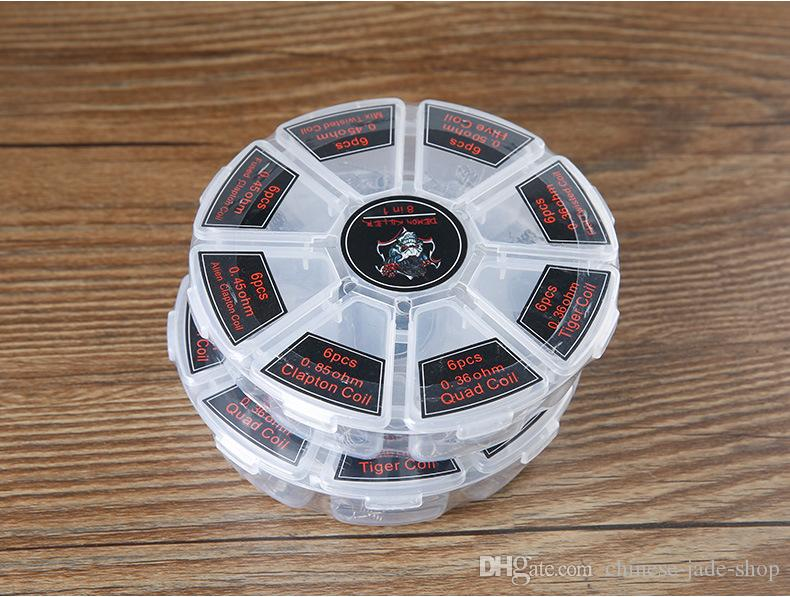 Demon Killer 8 en 1 Kit de caja de bobinas preconstruida Pista de colmena Quad Tiger fusionado Clapton Mezclar cables de calefacción de torsión retorcidos Diy RDA Atomizer 30BOX /