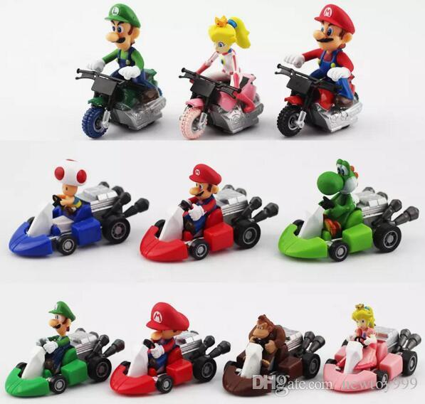 Super Mario Bros Kart Pull Back Car figure Toy Mario Brother Pullback Cars Dolls 2018 hot seller