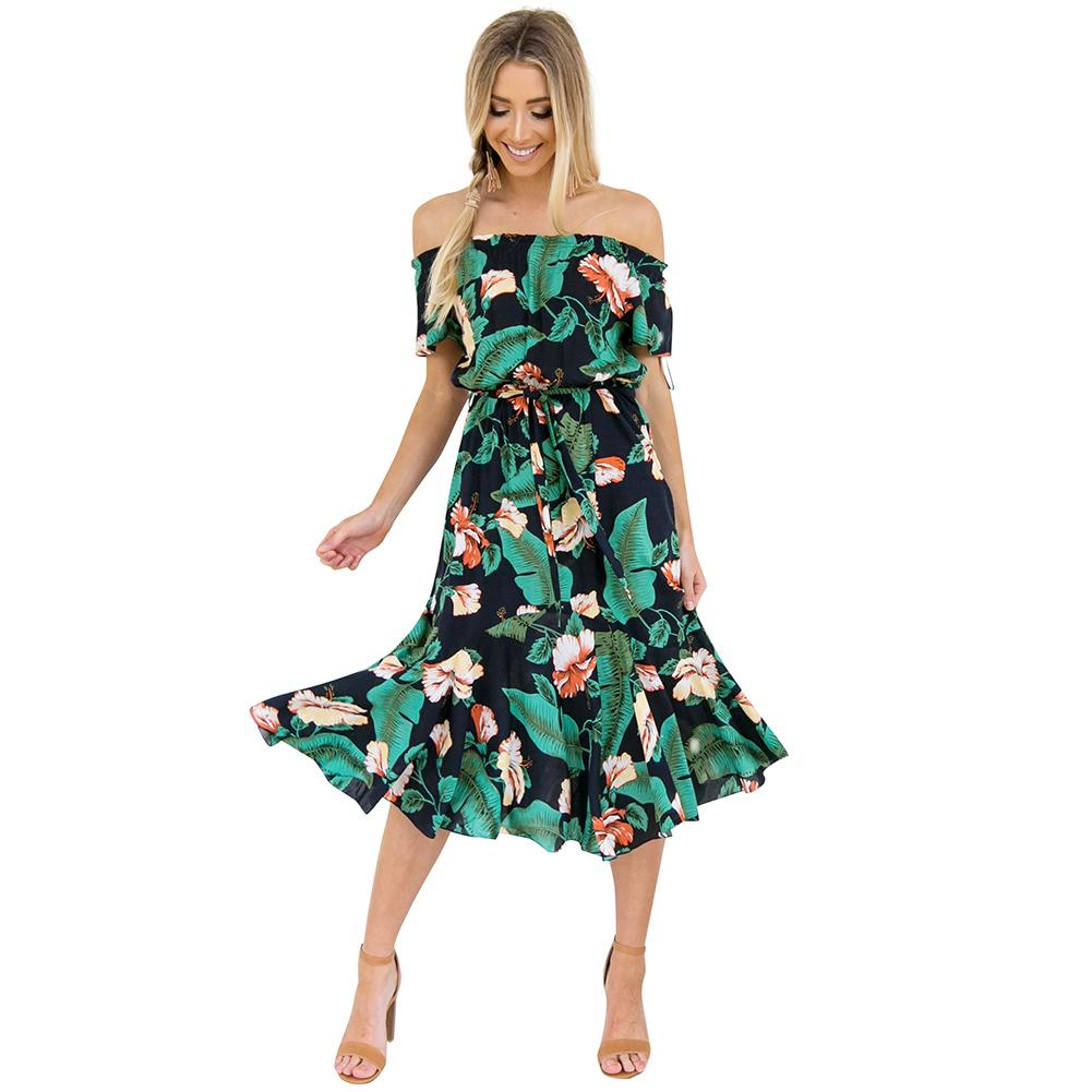 3a60640e4be6 Sexy Women Off The Shoulder Midi Dress Floral Print Short Sleeves Summer  Dress 2019 Strapless Boho Party Beach Dress Green Ropa Dress Of Women White  Lace ...