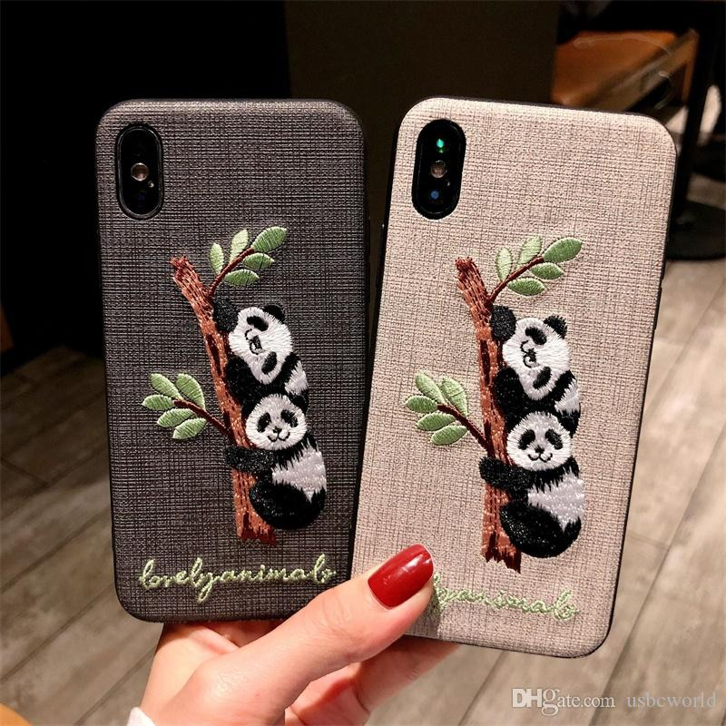 Embroidered Panda Deer Rabbit Phone Case For Iphone X XR XS MAX TPU PC Back Cover For Iphone 6 7 8 Plus