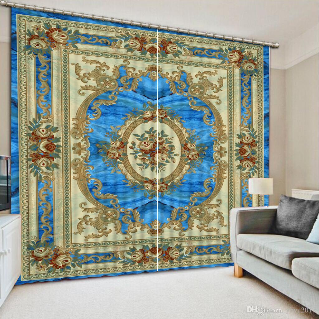 As cortinas de janela personalizam cortinas do teste padrão de Euporean 3D para a cortina decorativa da sala de visitas