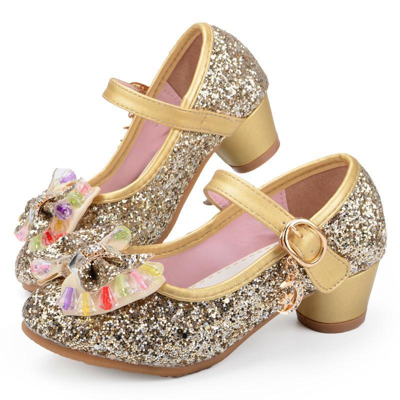 buy popular 6622d f7fc2 Heißer Schmetterling Kinder Prinzessin Schuhe Mädchen Bowtie Candy Farbe  Hight Heels Slip On Party Dance Sandalen Für Baby Mädchen Kinder