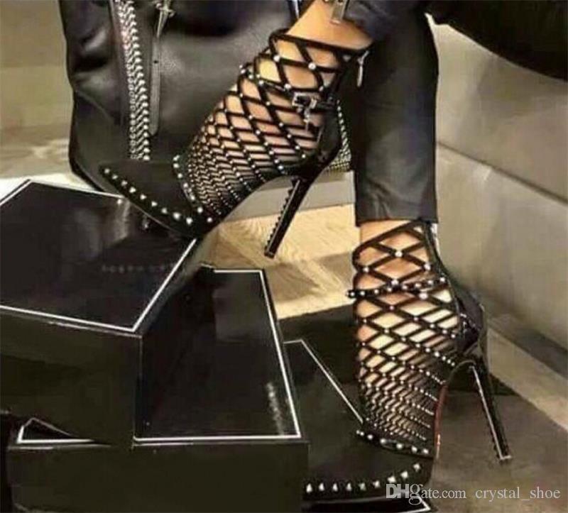 6d3b02385bb Luxury Rivets Pumps Brand Designer Pumps Women Sandals High Heels Ladies  Rivets Shoes 12cm Elegant Black Banquet Shoe High Heel Shoes Wholesale Shoes  From ...