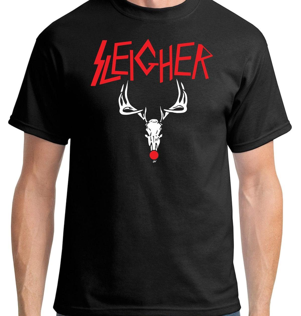 sleigher t shirt heavy metal rock thrash funny christmas tee rudolph reindeer designable t shirts buy funny shirts from liguo0053 1279 dhgatecom - Funny Christmas T Shirts