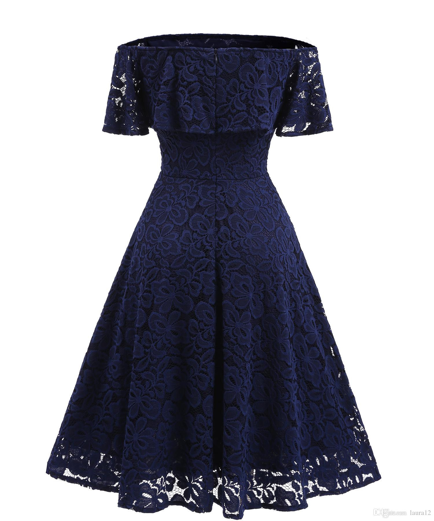 Real Image Slash neck Lace Women Party Dresses 2018 Short Sleeves A Line Drapped Mid Calf Casual Dress S--XXL High Quality Lace