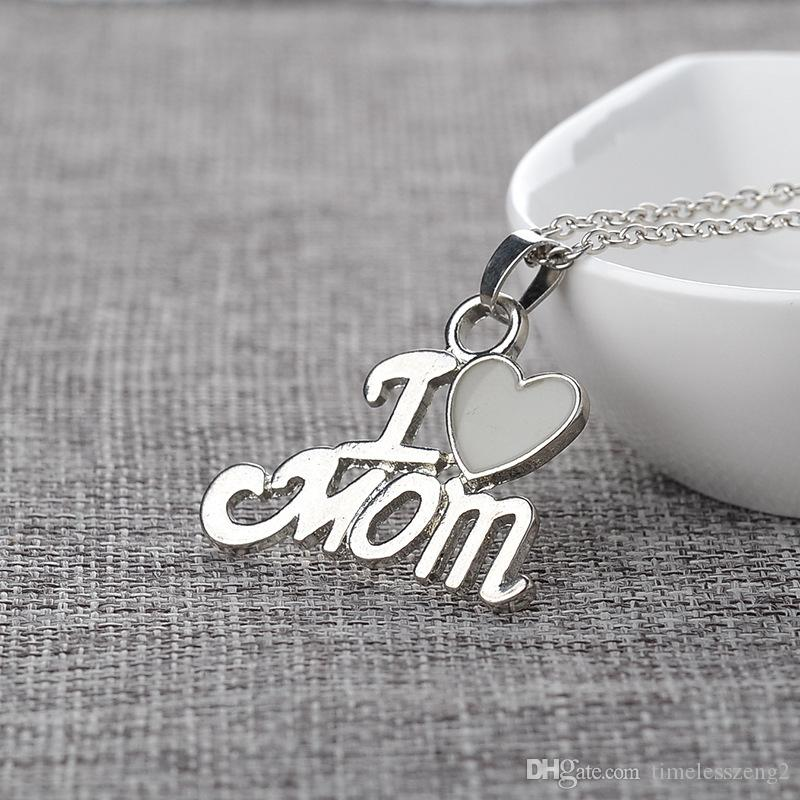 """Luminous Pendant Necklace """"I Love Mom"""" With Heart Clavicular Chain Mom Birthday Mother's Day Nice Gift Free Ship"""