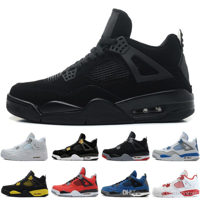 8ecbd3a4bd3ddd 4 4s Mens Basketball Shoes White Cement Pure Money Black Cat Bred Oreo Fear  Pack Royalty Toro Bravo Angry Bull Military Blue Sports Sneakers  Basketballs ...
