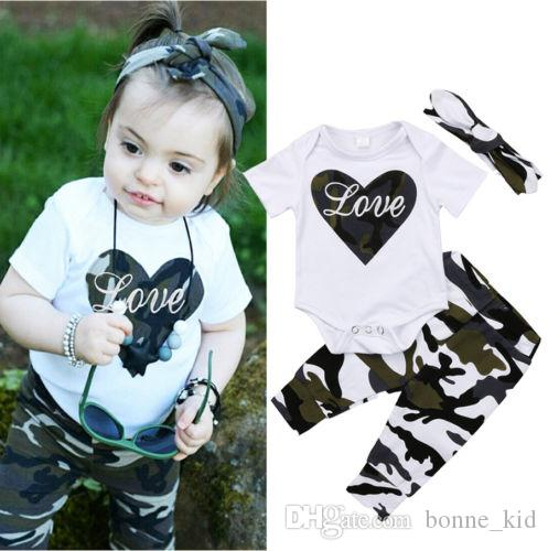 eaebdc7e531e Newborn Baby Girl Camouflage LOVE Romper+Pants+Headband Outfits Set Clothes  Heart Kid Girl Boutique Clothing Summer Toddler 0-24M Newborn Baby Girl  Romper ...