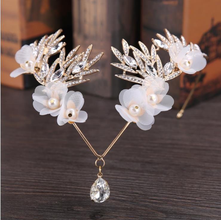 2018 bride's head ornaments silk yarn white water drill wedding dress accessories