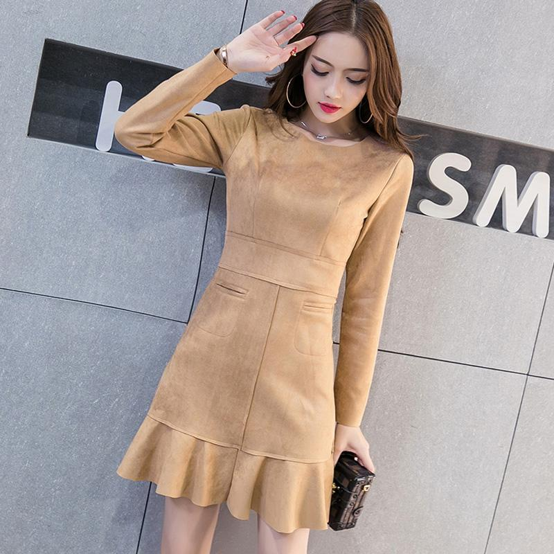 ae927621261 2019 Fashion Women Suede Dresses Autumn Winter Vintage Ruffles Ladies Slim  Mermaid Mini Dresses High Waist With Pockets D0981 Floral Cocktail Dresses  Floral ...