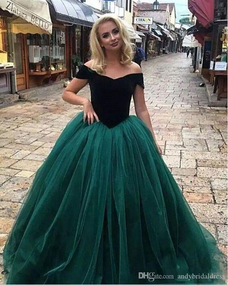 d71d458e51d Sexy Off The Shoulder Ball Gown Prom Dresses Dark Green Vestidos De Fiesta Floor  Length Tulle Evening Dresses Party Gowns On Sale Prom Dresses Online Prom  ...