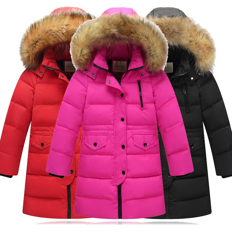 0266f3af7 2018 Girls Thickening Warm Down Jackets Children Fur Collar Hooded ...