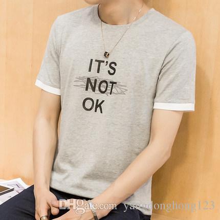 NEW Fashion Active Personalized Print Express Cotton T Shirt Hip Hop Short Sleeve T Shirts Men 69335