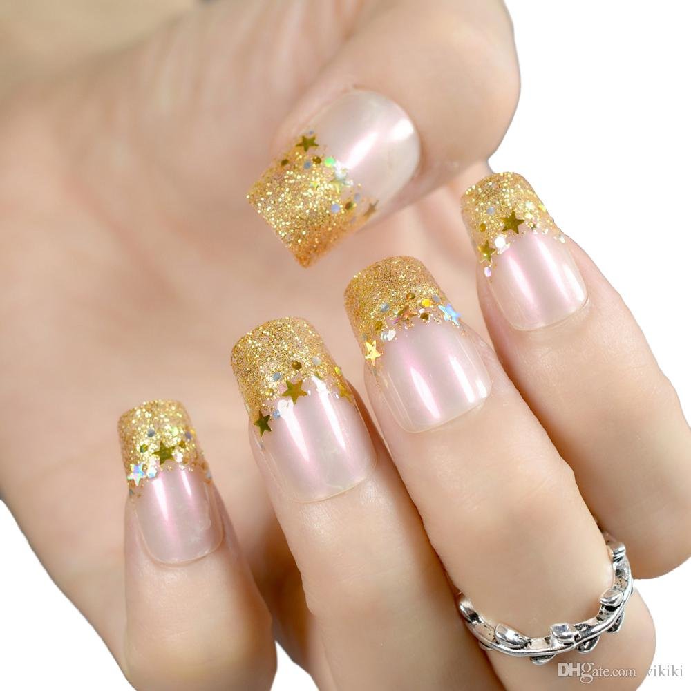 Gold Glitter Long Fake Nails Patch French False Nail Long Full Cover Nail Art Tips for women girl lady