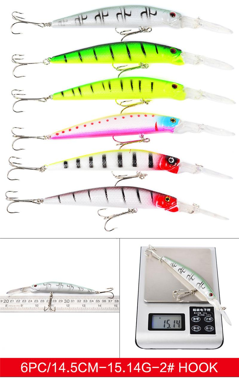 Mix 4 styles Plastic Artificial Laser swimbait set 3D Holographic Eyes DOG WALKING bass lure